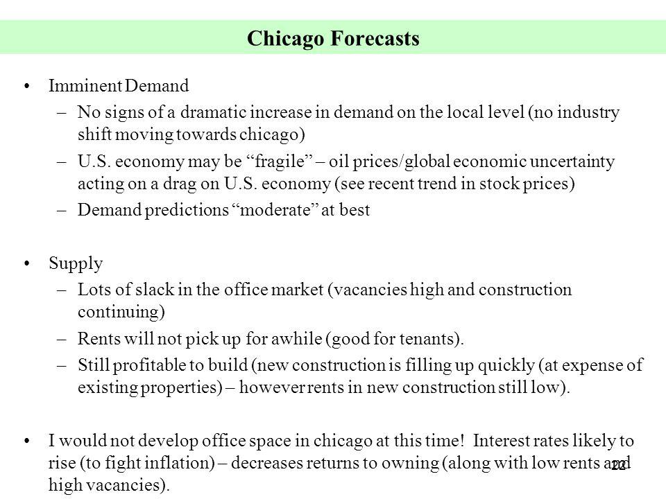 22 Chicago Forecasts Imminent Demand –No signs of a dramatic increase in demand on the local level (no industry shift moving towards chicago) –U.S. ec