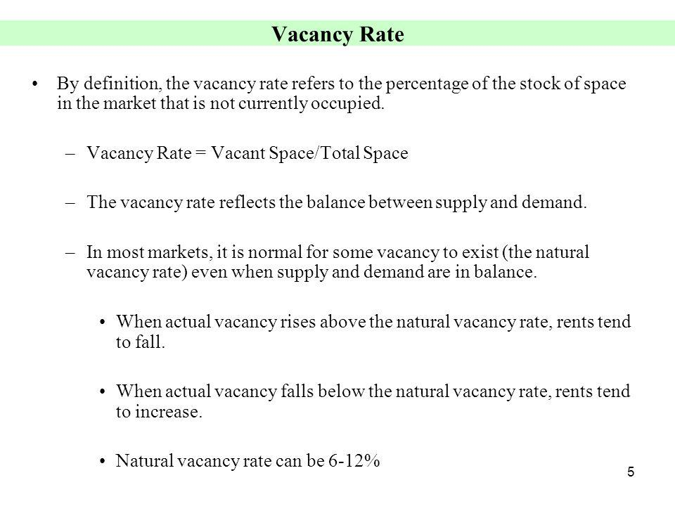 5 Vacancy Rate By definition, the vacancy rate refers to the percentage of the stock of space in the market that is not currently occupied.