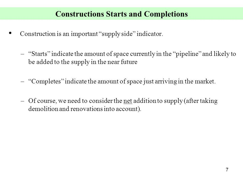 7 Constructions Starts and Completions Construction is an important supply side indicator.