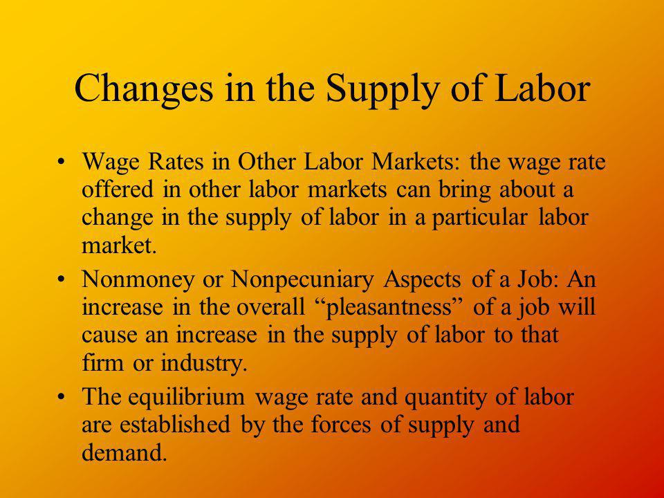 Changes in the Supply of Labor Wage Rates in Other Labor Markets: the wage rate offered in other labor markets can bring about a change in the supply