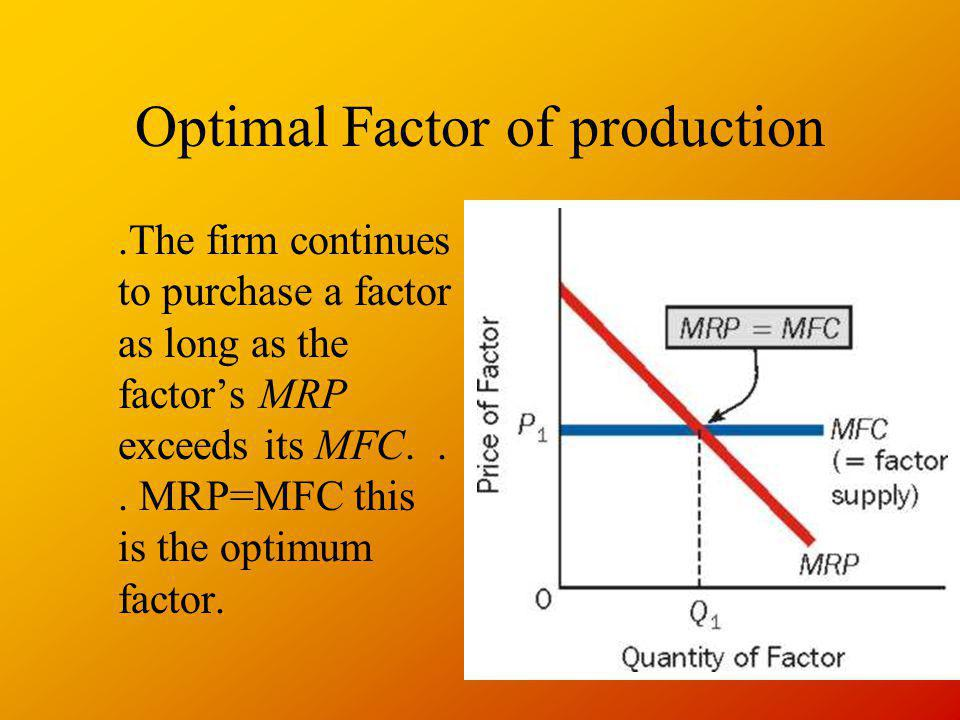 Optimal Factor of production.The firm continues to purchase a factor as long as the factors MRP exceeds its MFC... MRP=MFC this is the optimum factor.