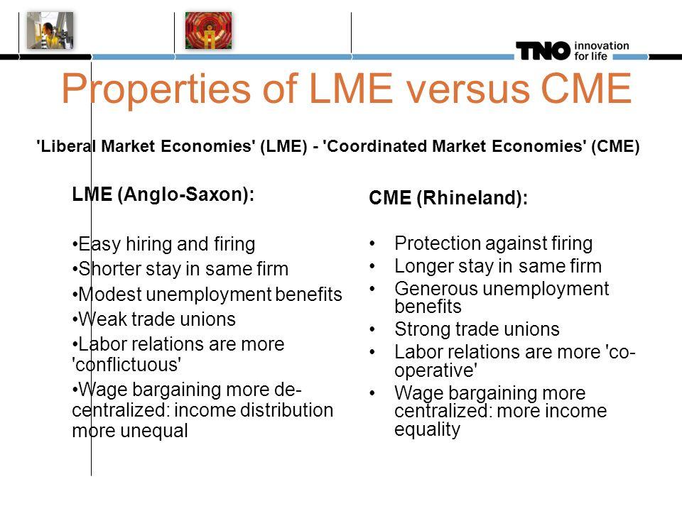 Properties of LME versus CME 'Liberal Market Economies' (LME) - 'Coordinated Market Economies' (CME) LME (Anglo-Saxon): Easy hiring and firing Shorter