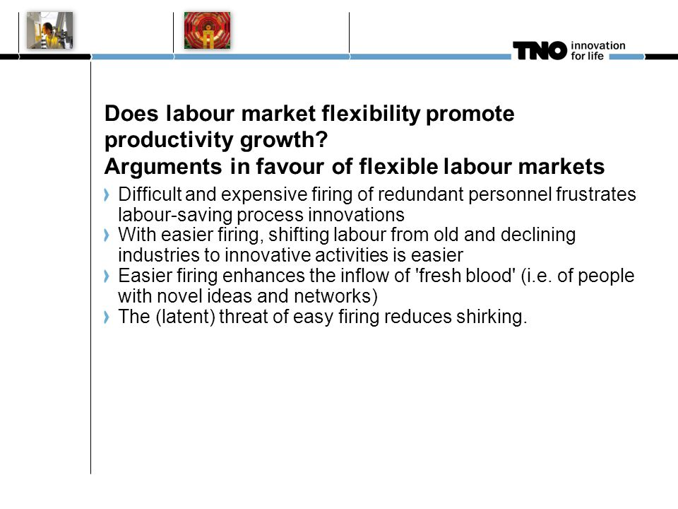 Does labour market flexibility promote productivity growth? Arguments in favour of flexible labour markets Difficult and expensive firing of redundant