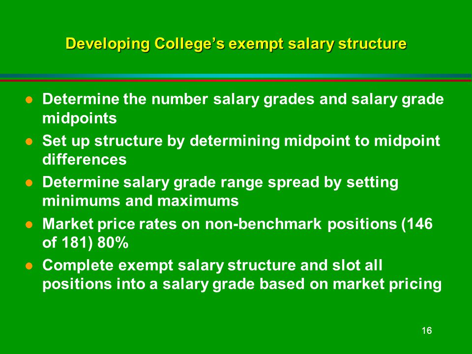 16 Developing Colleges exempt salary structure l Determine the number salary grades and salary grade midpoints l Set up structure by determining midpoint to midpoint differences l Determine salary grade range spread by setting minimums and maximums l Market price rates on non-benchmark positions (146 of 181) 80% l Complete exempt salary structure and slot all positions into a salary grade based on market pricing