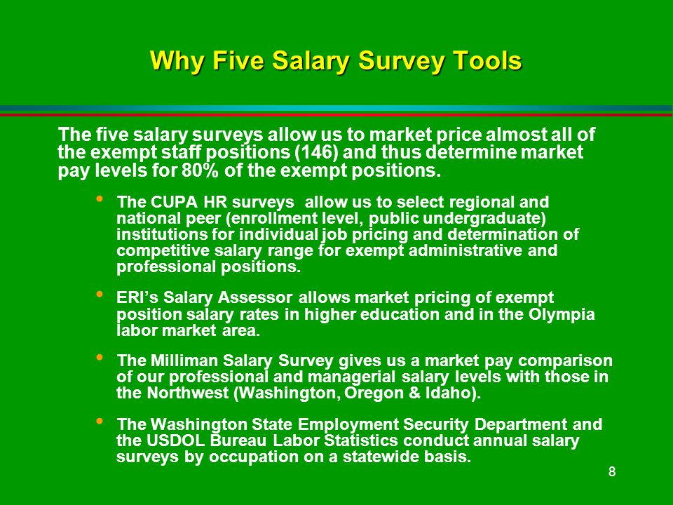 8 Why Five Salary Survey Tools The five salary surveys allow us to market price almost all of the exempt staff positions (146) and thus determine market pay levels for 80% of the exempt positions.