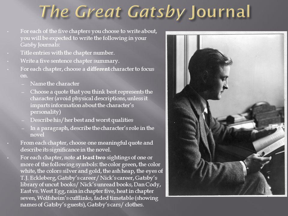 For each of the five chapters you choose to write about, you will be expected to write the following in your Gatsby Journals: Title entries with the chapter number.