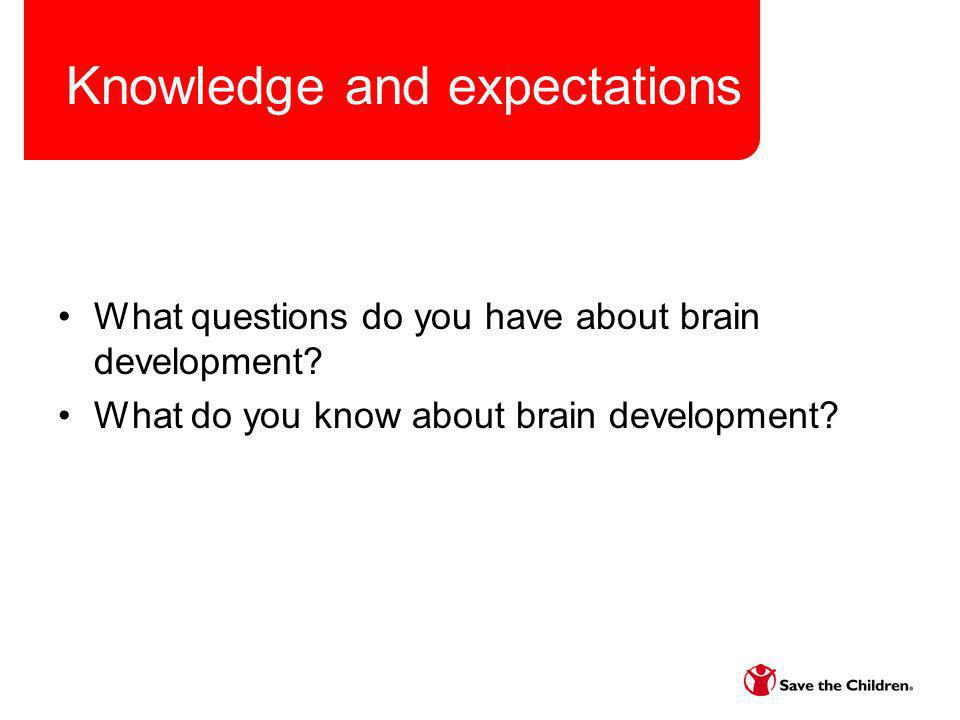Knowledge and expectations What questions do you have about brain development? What do you know about brain development?