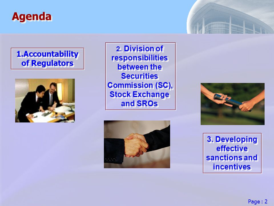 Page : 2 AgendaAgenda 1.Accountability of Regulators 2.