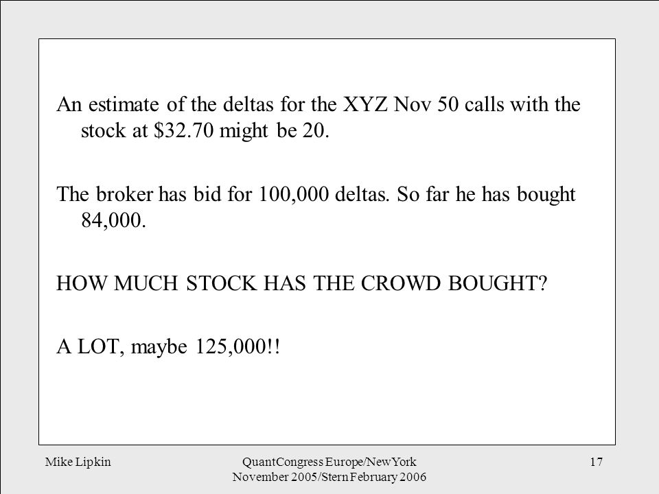 Mike LipkinQuantCongress Europe/NewYork November 2005/Stern February 2006 17 An estimate of the deltas for the XYZ Nov 50 calls with the stock at $32.70 might be 20.