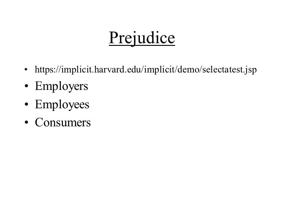Prejudice https://implicit.harvard.edu/implicit/demo/selectatest.jsp Employers Employees Consumers