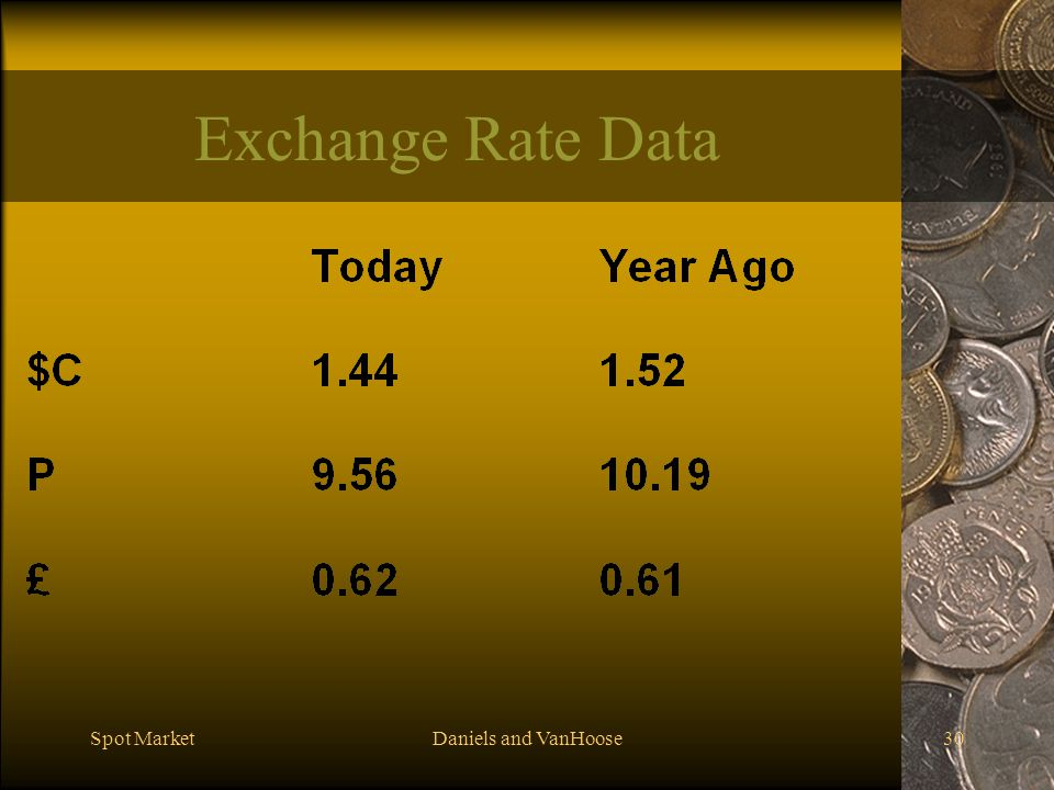 Spot MarketDaniels and VanHoose30 Exchange Rate Data