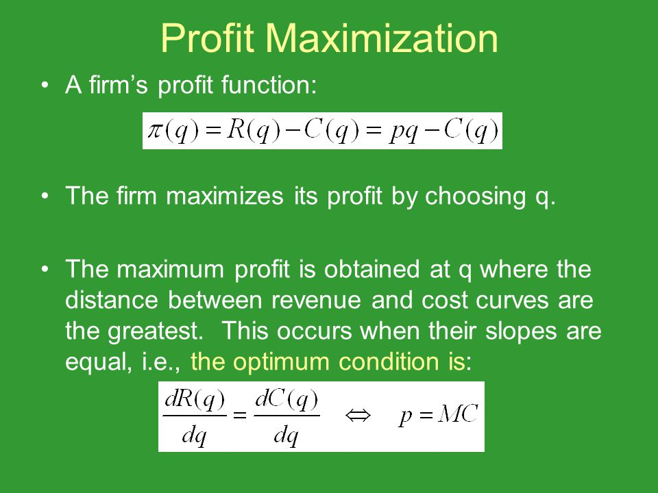 A firms profit function: The firm maximizes its profit by choosing q.