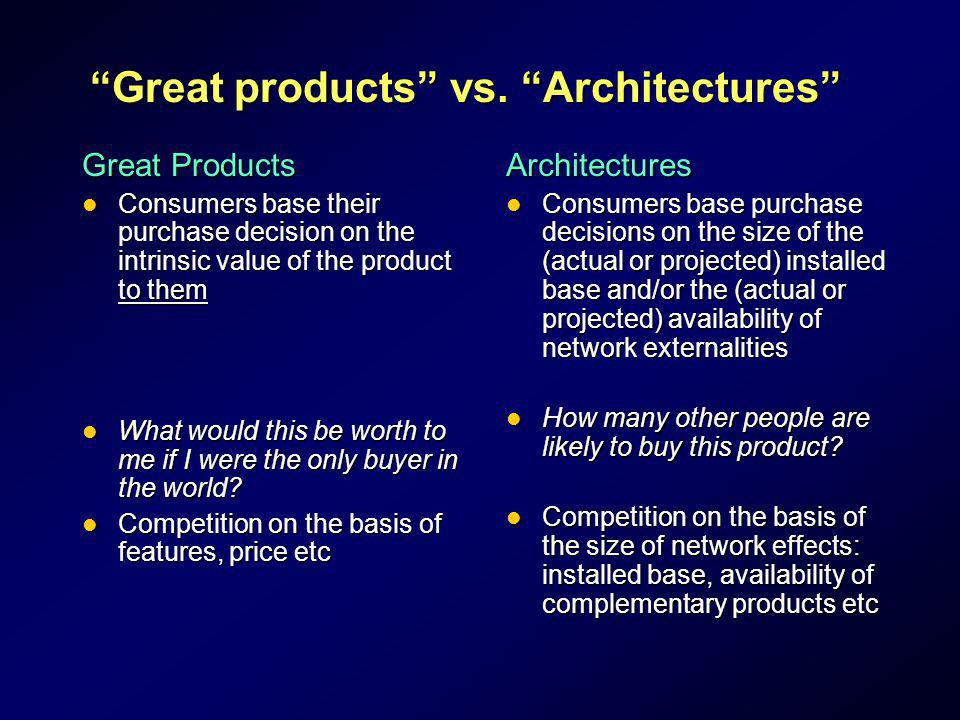Great products vs. Architectures Great Products Consumers base their purchase decision on the intrinsic value of the product to them Consumers base th