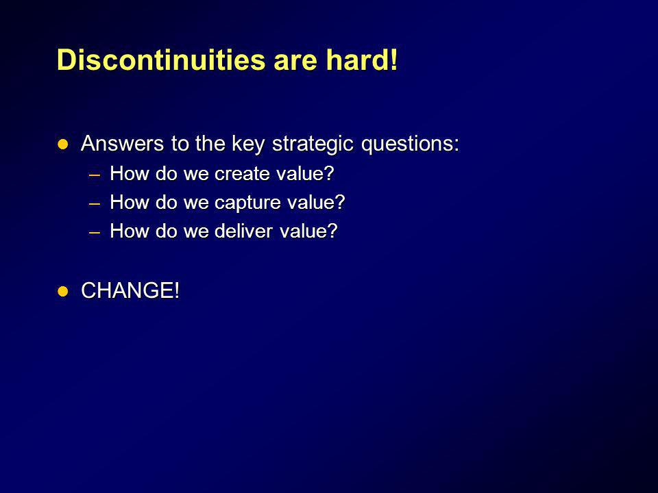 Discontinuities are hard! Answers to the key strategic questions: Answers to the key strategic questions: –How do we create value? –How do we capture