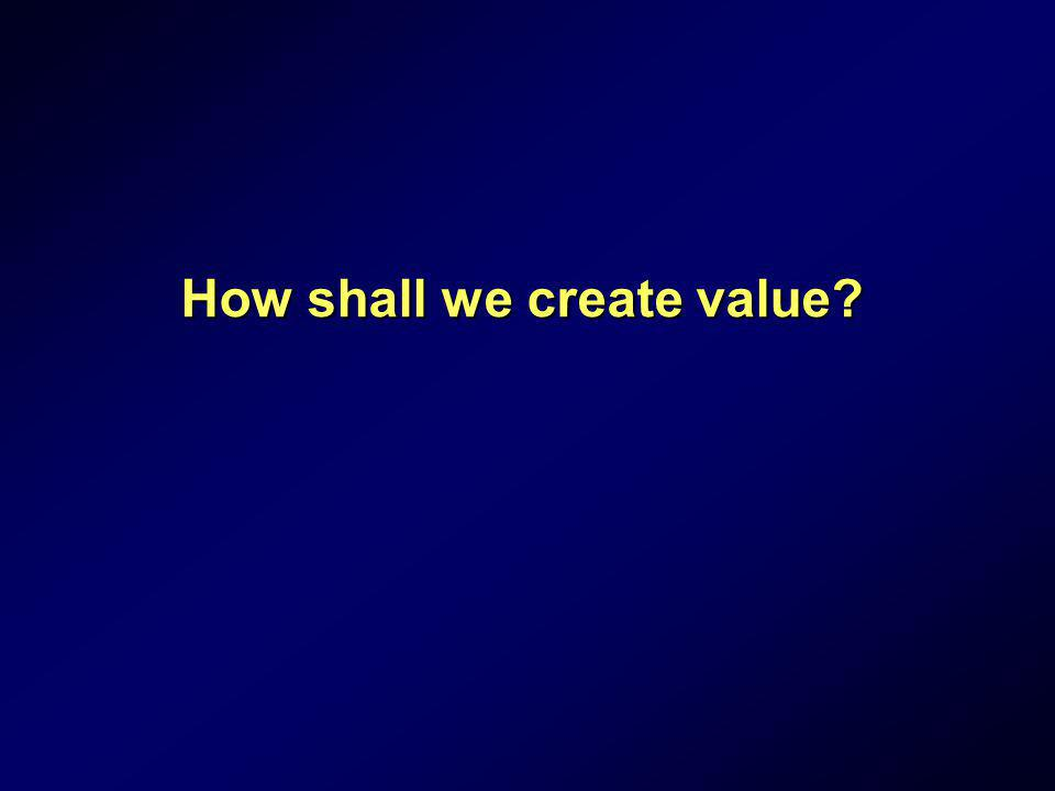 How shall we create value?