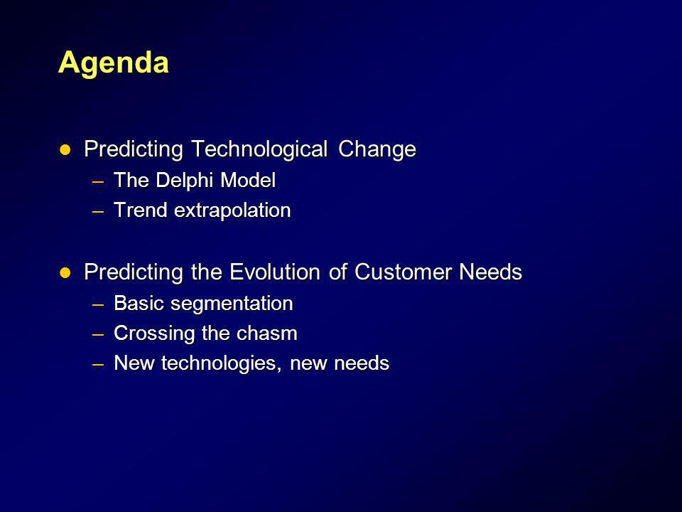 Agenda Predicting Technological Change Predicting Technological Change –The Delphi Model –Trend extrapolation Predicting the Evolution of Customer Nee