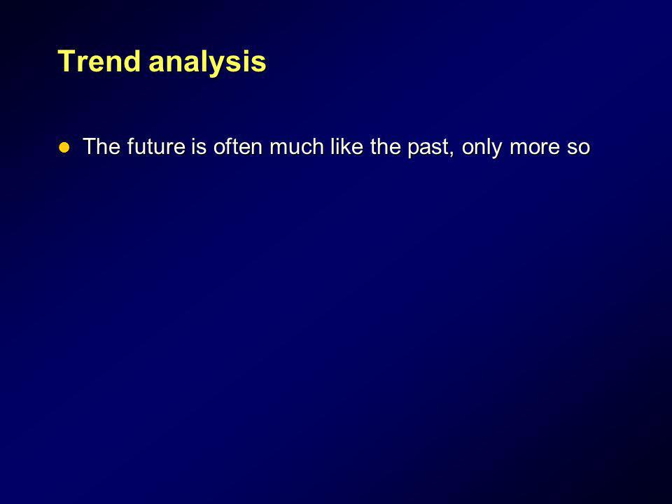 Trend analysis The future is often much like the past, only more so The future is often much like the past, only more so