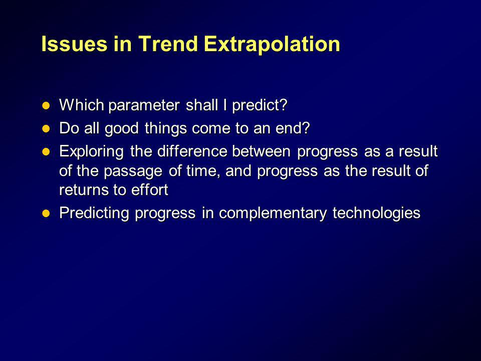 Issues in Trend Extrapolation Which parameter shall I predict? Which parameter shall I predict? Do all good things come to an end? Do all good things
