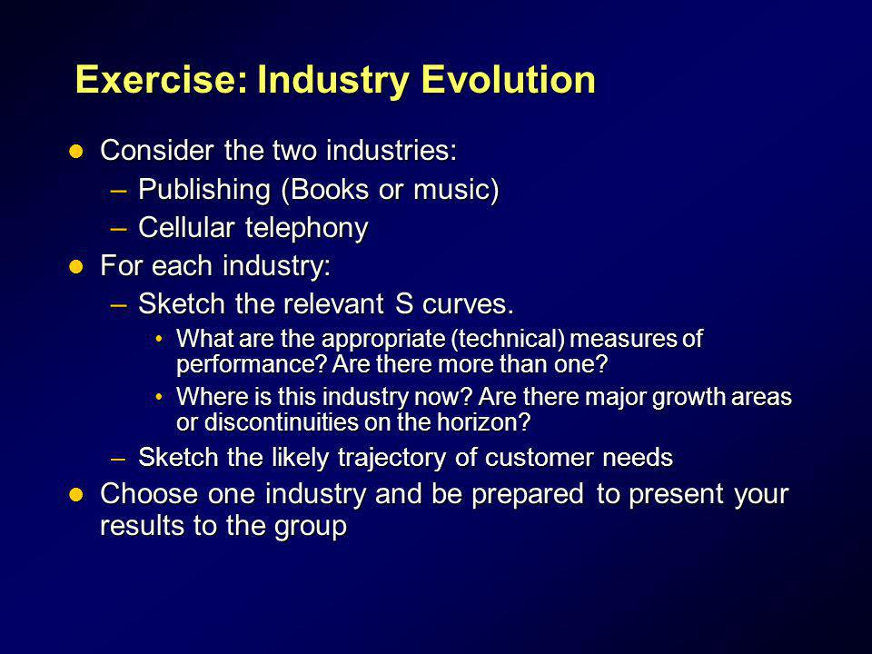 Exercise: Industry Evolution Consider the two industries: Consider the two industries: –Publishing (Books or music) –Cellular telephony For each indus