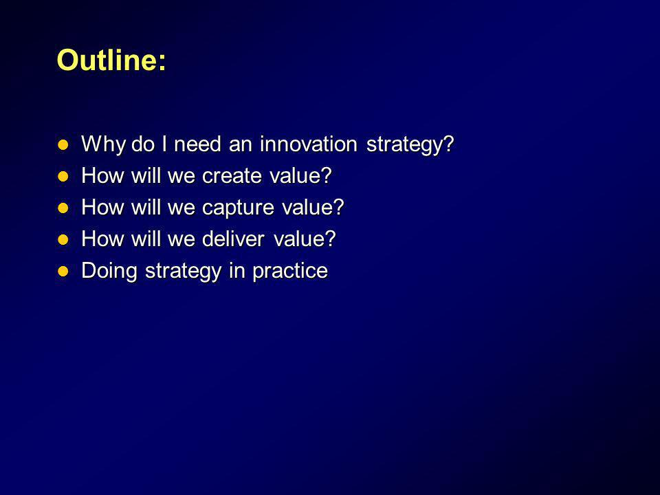 Outline: Why do I need an innovation strategy? Why do I need an innovation strategy? How will we create value? How will we create value? How will we c