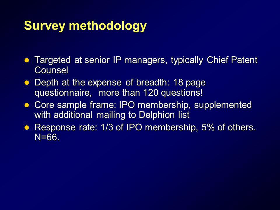 Survey methodology Targeted at senior IP managers, typically Chief Patent Counsel Targeted at senior IP managers, typically Chief Patent Counsel Depth
