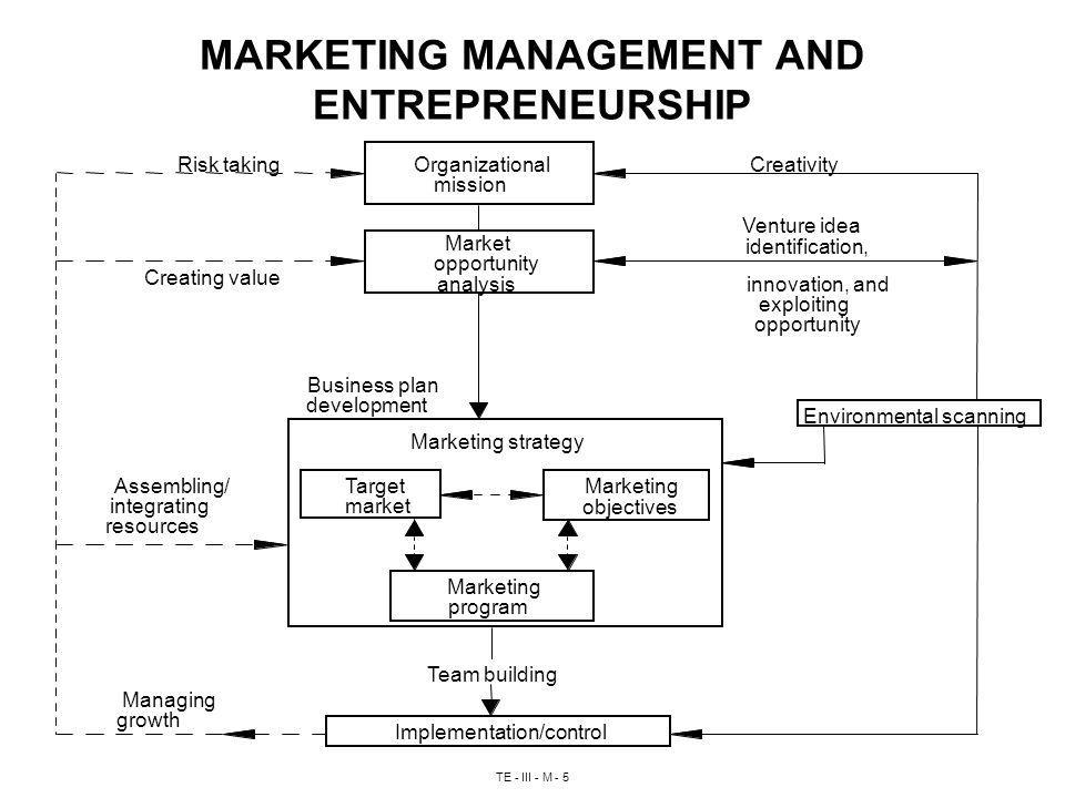 TE - III - M - 5 MARKETING MANAGEMENT AND ENTREPRENEURSHIP Risk takingCreativity Creating value Venture idea identification, innovation, and exploiting opportunity Business plan development Assembling/ integrating resources Team building Managing growth Organizational mission Market opportunity analysis Marketing strategy Target market Marketing objectives Marketing program Environmental scanning Implementation/control
