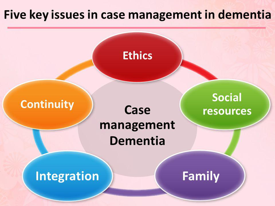 Five key issues in case management in dementia Case management Dementia Ethics Social resources FamilyIntegration Continuity