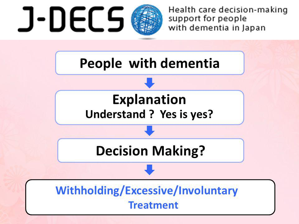 People with dementia Explanation Understand .Yes is yes.