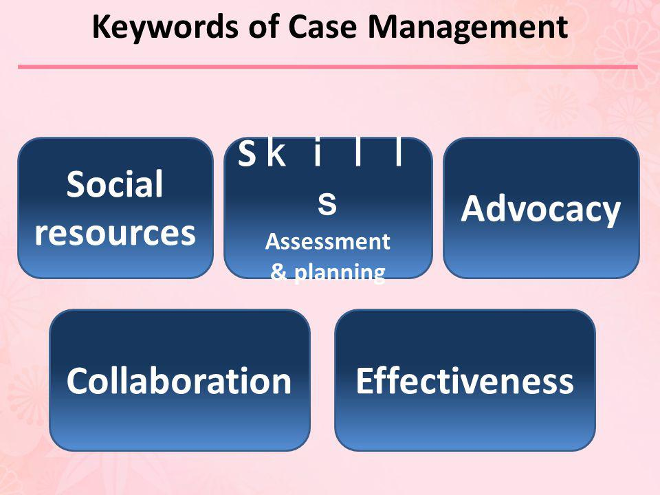 Social resources S Assessment & planning Advocacy CollaborationEffectiveness Keywords of Case Management