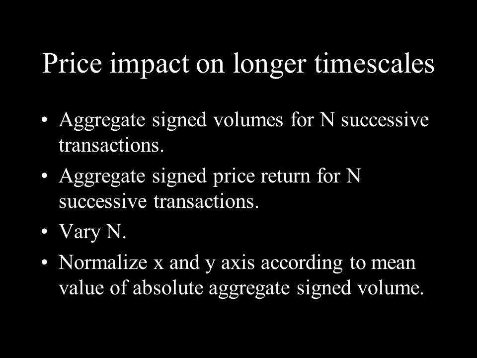 Price impact on longer timescales Aggregate signed volumes for N successive transactions.