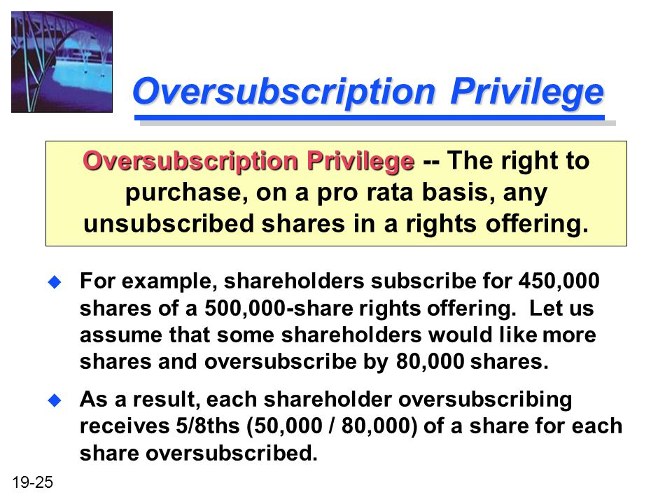 19-25 Oversubscription Privilege u For example, shareholders subscribe for 450,000 shares of a 500,000-share rights offering.