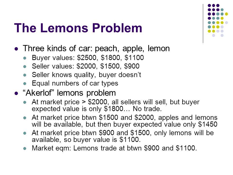 The Lemons Problem Three kinds of car: peach, apple, lemon Buyer values: $2500, $1800, $1100 Seller values: $2000, $1500, $900 Seller knows quality, b