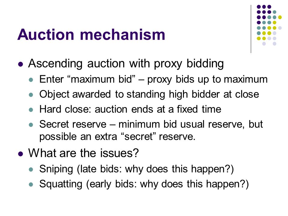 Auction mechanism Ascending auction with proxy bidding Enter maximum bid – proxy bids up to maximum Object awarded to standing high bidder at close Ha