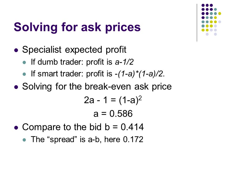 Solving for ask prices Specialist expected profit If dumb trader: profit is a-1/2 If smart trader: profit is -(1-a)*(1-a)/2. Solving for the break-eve