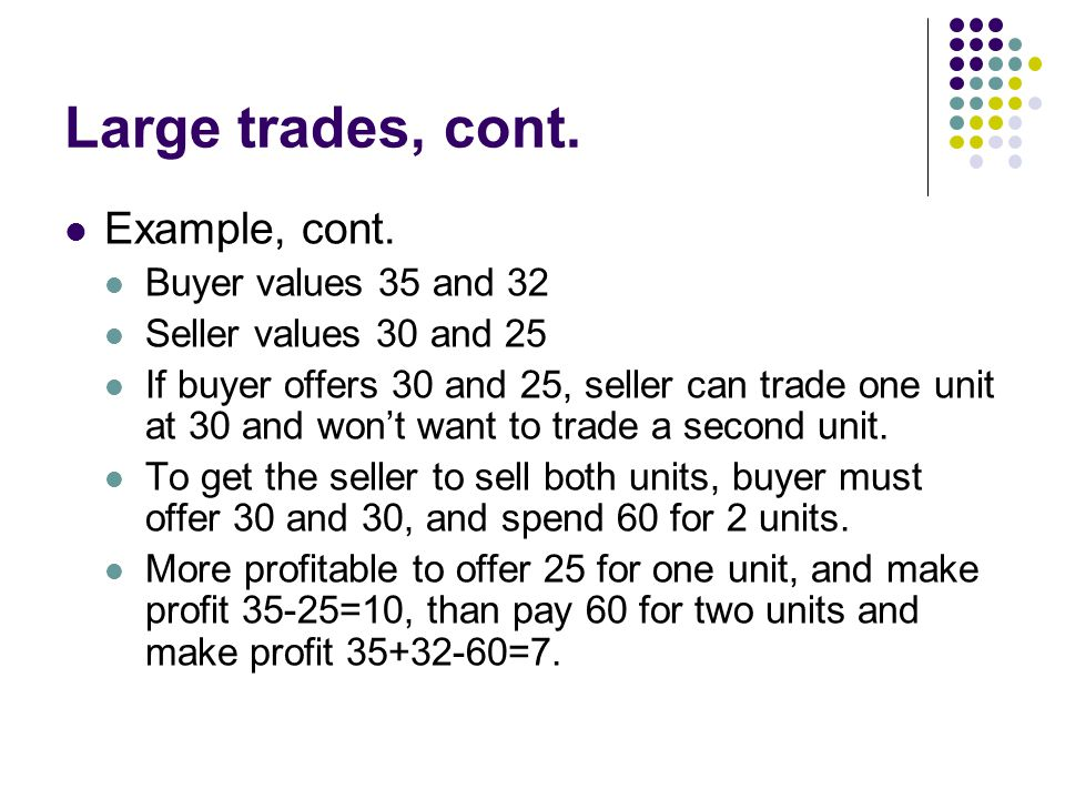 Large trades, cont. Example, cont. Buyer values 35 and 32 Seller values 30 and 25 If buyer offers 30 and 25, seller can trade one unit at 30 and wont