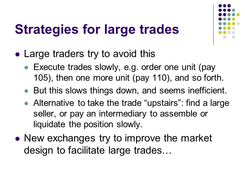 Strategies for large trades Large traders try to avoid this Execute trades slowly, e.g. order one unit (pay 105), then one more unit (pay 110), and so