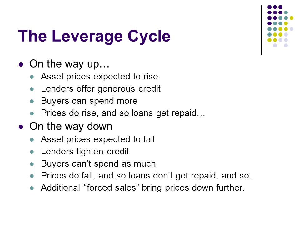 The Leverage Cycle On the way up… Asset prices expected to rise Lenders offer generous credit Buyers can spend more Prices do rise, and so loans get r