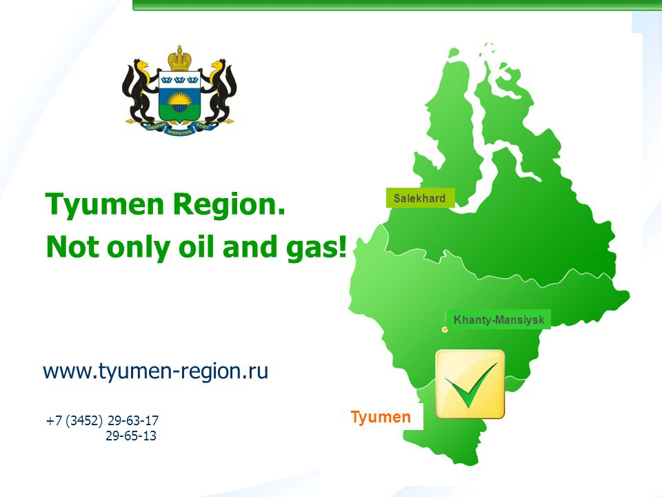 +7 (3452) 29-63-17 29-65-13 Tyumen Region. Not only oil and gas.