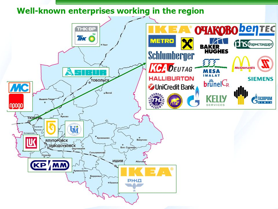 Well-known enterprises working in the region