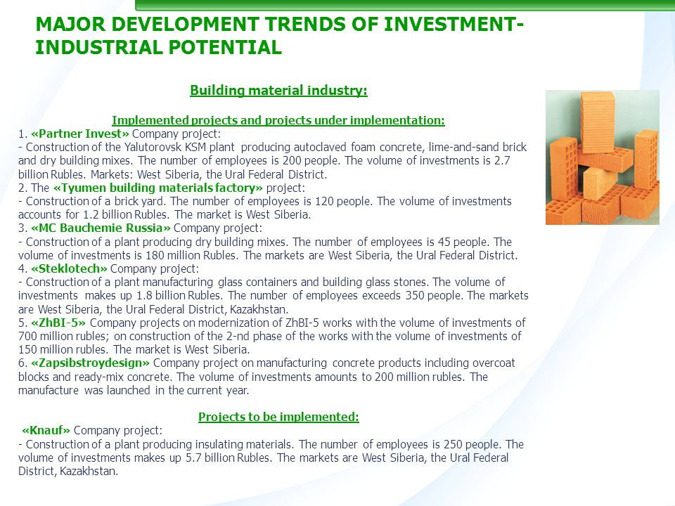 16 Building material industry: Implemented projects and projects under implementation: 1.