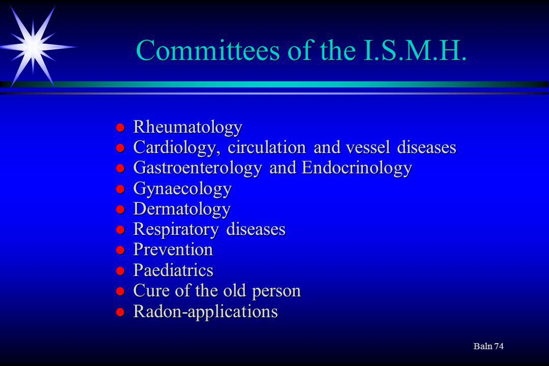 Baln 74 Committees of the I.S.M.H.