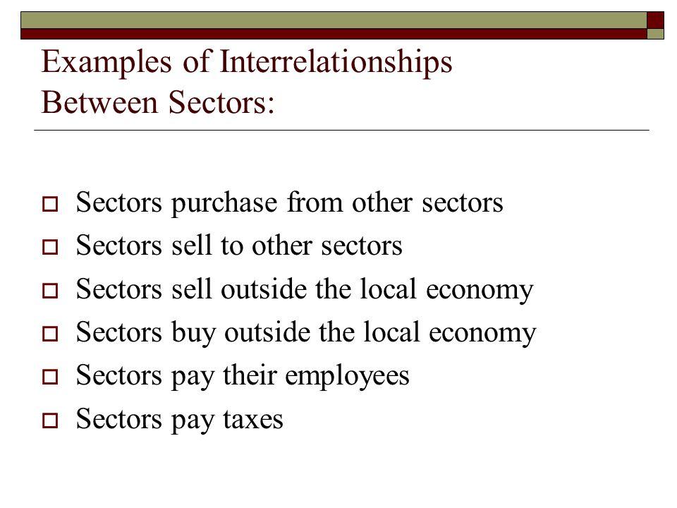 Examples of Interrelationships Between Sectors: Sectors purchase from other sectors Sectors sell to other sectors Sectors sell outside the local econo