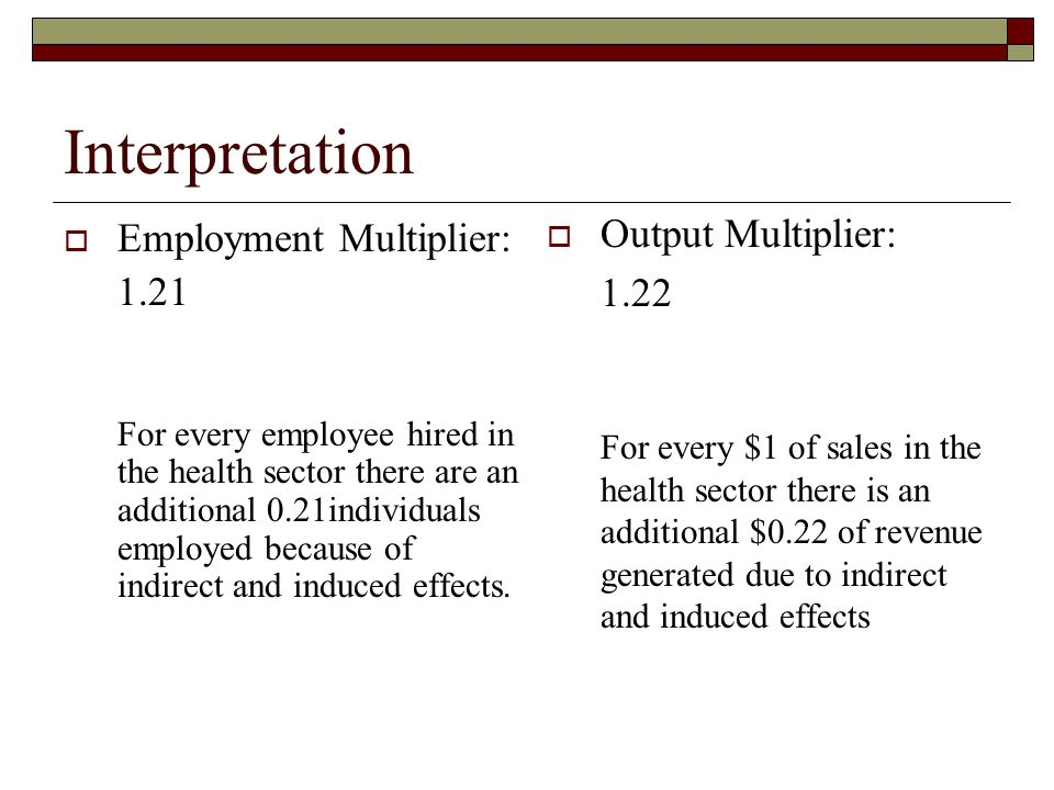 Interpretation Employment Multiplier: 1.21 For every employee hired in the health sector there are an additional 0.21individuals employed because of indirect and induced effects.