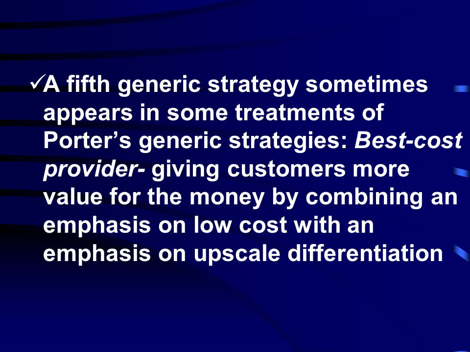 Cost-focus strategy - involves controlling expenses and, in turn, lowering prices in a narrow range of market segments Differentiation focus strategy- utilizes significant points of difference to one or a few market segments
