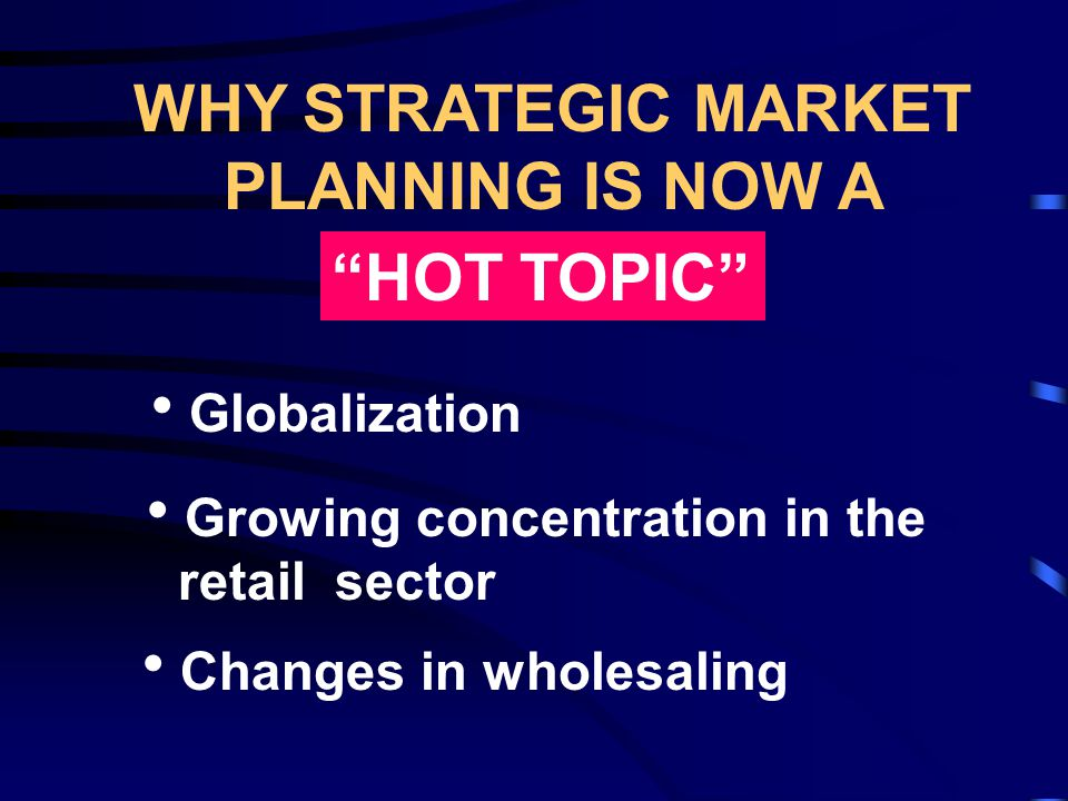 Some characteristics of strategic planning are: Looks at the Big Picture Leads to substantial changes Considers future environmental forces in the Industry Anticipates the reactions of competitors Looks at a longer time horizon