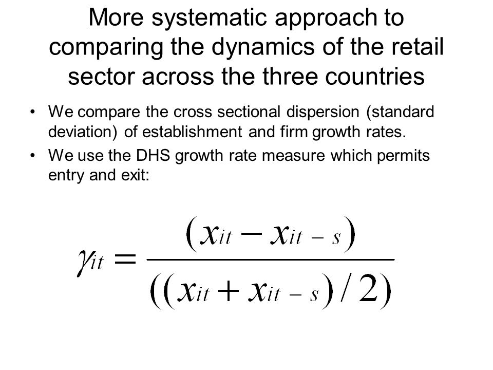 More systematic approach to comparing the dynamics of the retail sector across the three countries We compare the cross sectional dispersion (standard deviation) of establishment and firm growth rates.