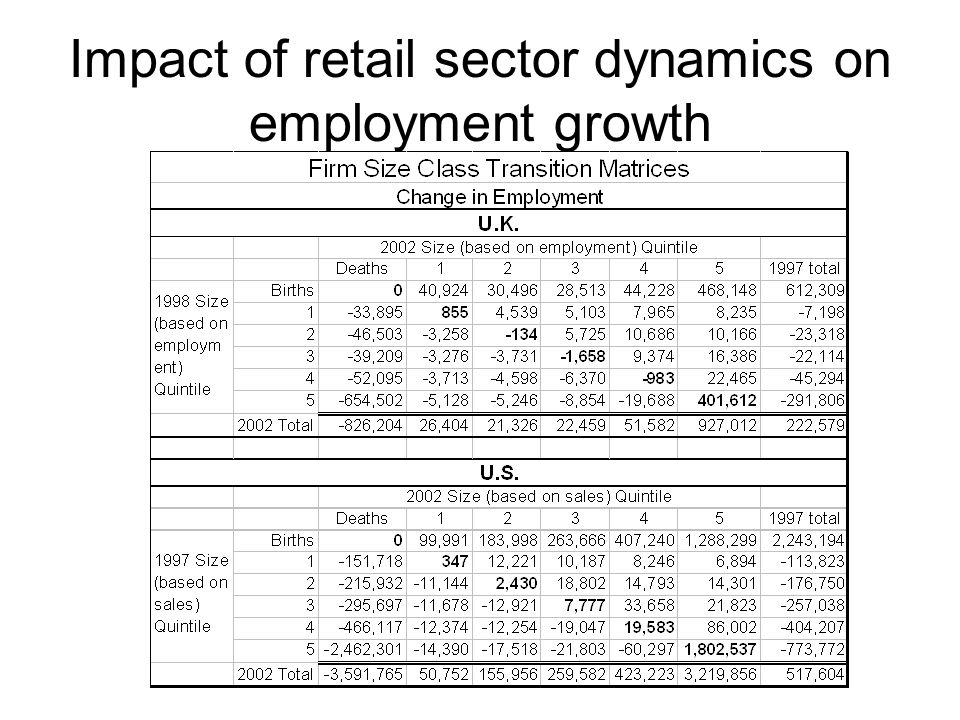 Impact of retail sector dynamics on employment growth