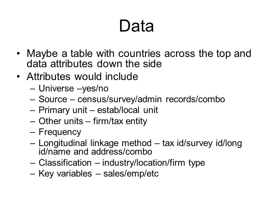 Data Maybe a table with countries across the top and data attributes down the side Attributes would include –Universe –yes/no –Source – census/survey/admin records/combo –Primary unit – estab/local unit –Other units – firm/tax entity –Frequency –Longitudinal linkage method – tax id/survey id/long id/name and address/combo –Classification – industry/location/firm type –Key variables – sales/emp/etc