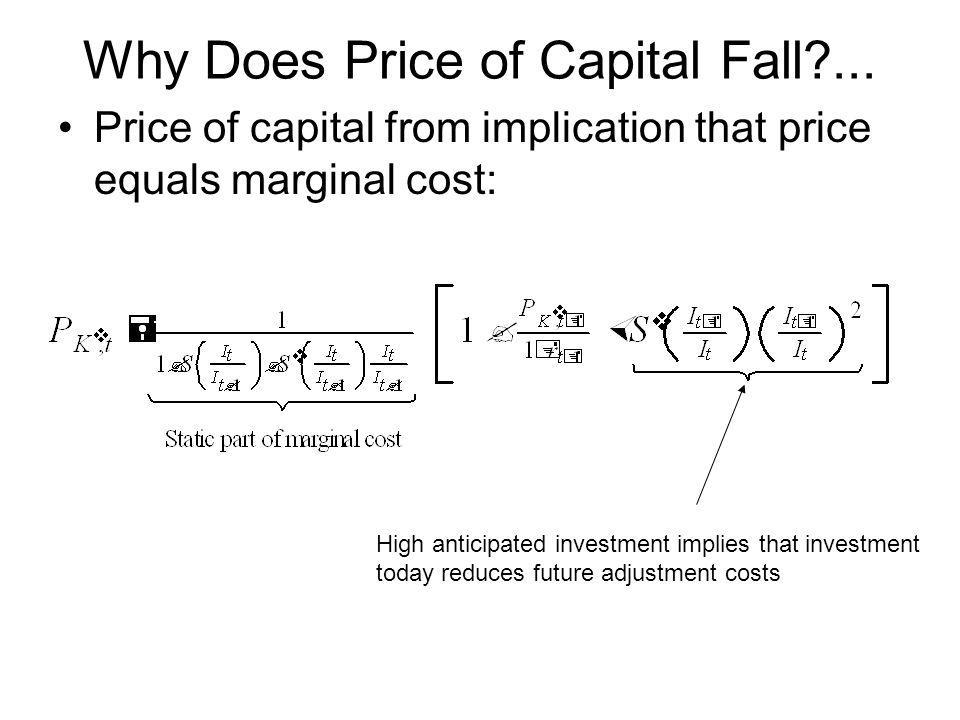 Why Does Price of Capital Fall?... Price of capital from implication that price equals marginal cost: High anticipated investment implies that investm