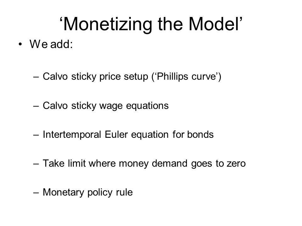 Monetizing the Model We add: –Calvo sticky price setup (Phillips curve) –Calvo sticky wage equations –Intertemporal Euler equation for bonds –Take lim